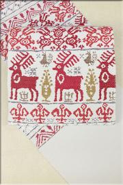 帯屋捨松 西陣織 正絹 八寸名古屋帯 お仕立て付き 鹿 白x赤