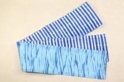 藤井絞 半幅帯 豆絞り 綿麻 リバーシブル 青×白