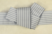 西村織物 麻絹 博多織 角帯 かがり仕立付 帯 灰×白 リバーシブル