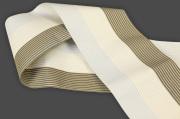 西村織物 麻絹 博多織 半幅帯 紗 かがり仕立付 帯 灰×ベージュ×茶