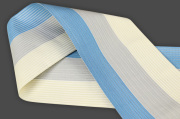 西村織物 麻絹 博多織 半幅帯 紗 かがり仕立付 帯 青×灰×白