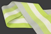 西村織物 麻絹 博多織 半幅帯 紗 かがり仕立付 帯 黄緑×灰×白
