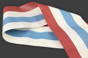 西村織物 麻絹 博多織 半幅帯 紗 かがり仕立付 帯 赤×青×白