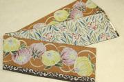 京都小泉 召しませ花 半幅帯 花柄 リバーシブル 黄土色