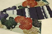 京都小泉 召しませ花 半幅帯 葉柄 リバーシブル ベージュ