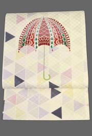 京都小泉 召しませ花 名古屋帯 傘 絹 ベージュ