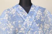 豆引染 絹紅梅 浴衣(ゆかた) オーダー仕立て付き 花柄 白×青 ◆女性にオススメ◆