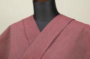遠州木綿 木綿着物 オーダーお仕立て付き 六〇双糸 ピンストライプ 赤 ◆男女兼用◆