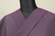 遠州木綿 木綿着物 オーダーお仕立て付き 六〇双糸 ピンストライプ 紫 ◆男女兼用◆