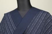 遠州木綿 木綿着物 オーダーお仕立て付き 六〇双糸 絣ストライプ 紺 ◆男女兼用◆