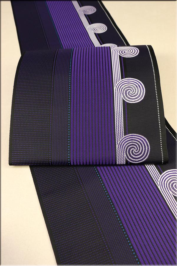 博多織 八寸名古屋帯 お仕立て付き ダイヤグラムうずまき ブラック2381-2