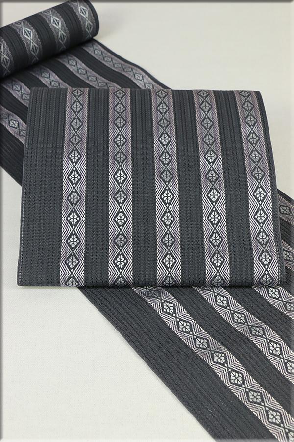 西村織物 博多織 夏物 正絹 紗 八寸名古屋帯 献上柄 お仕立て付き 濃グレー