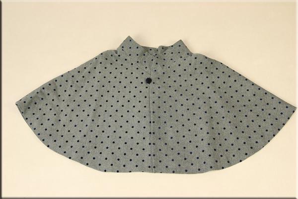 ◇現品限り◇グレーヘリンボンツイードケープコート シングルボタン