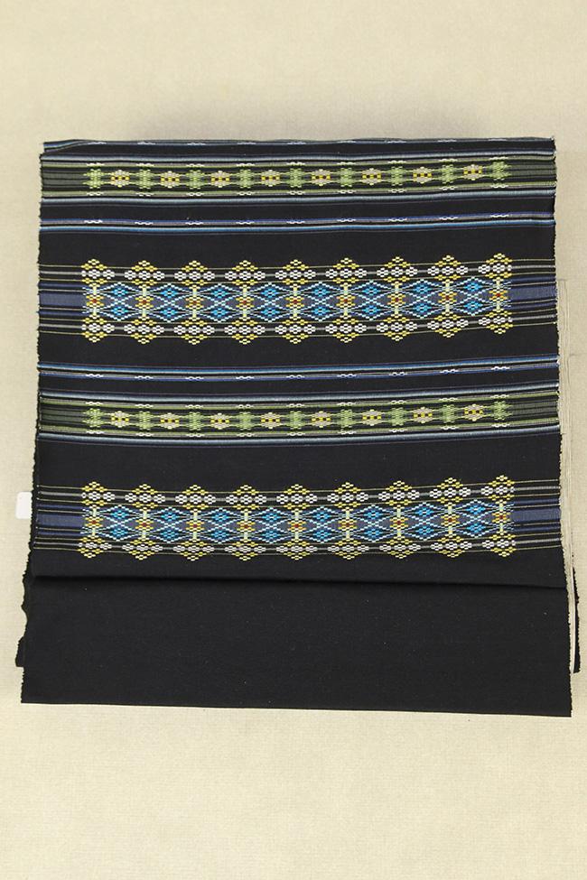 本場琉球 南風原 夏花織 おおしろ 九寸名古屋帯 正絹 お仕立て付き 黒×水色×黄