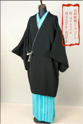 ◇現品限り◇プレタ縮緬ロングコート 黒 フリーサイズ