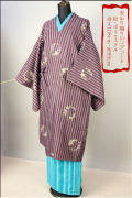 ◇現品限り◇プレタ変わり織りロングコート 小豆縞花輪柄 Lサイズ