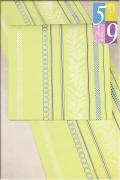 5−9きもの 博多織 変わり献上月桂樹 レモンイエロー 八寸名古屋帯 西村織物