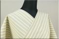絹木綿着物 オーダーお仕立付き 洗える普段着着物 広幅 縞 ベージュxグレーx薄グレー ◆女性にオススメ◆