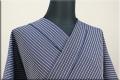 夏のKIPPE(きっぺ) 涼しま よねざわもめん 綿麻 オーダーお仕立て付き 濃紺20-2 ◆男女兼用◆