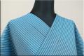 夏のKIPPE(きっぺ) 涼しま よねざわもめん 綿麻 オーダーお仕立て付き ブルー 7-2 ◆男女兼用◆