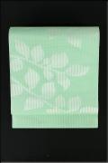 紫紘 西陣 夏物 正絹 八寸名古屋帯 お仕立て付き 葉 薄緑