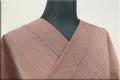羽州綿紬 木綿着物 オーダーお仕立て付き 縞 赤茶 No.2 ◆男女兼用◆