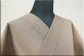 羽州綿紬 木綿着物 オーダーお仕立て付き 縞 オークル No.3 ◆男女兼用◆