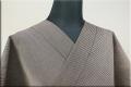羽州綿紬 木綿着物 オーダーお仕立て付き 縞 濃茶 No.4 ◆男女兼用◆