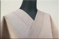 羽州綿紬 木綿着物 オーダーお仕立て付き 縞 ピンクベージュ No.7 ◆男女兼用◆.