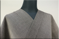 羽州綿紬 木綿着物 オーダーお仕立て付き 縞 濃グレー No.8 ◆男女兼用◆.