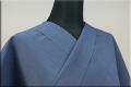 暖かいウール着物 オーダー仕立て付き 無地 青◆男女兼用◆