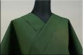 暖かいウール着物 オーダー仕立て付き 無地 緑◆男女兼用◆