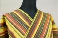 ウール着物 オーダーお仕立て付き 六〇双糸 ストライプ 暖かい普段着きもの 黄色 ◆男女兼用◆