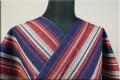 ウール着物 オーダーお仕立て付き 六〇双糸 ストライプ 暖かい普段着きもの 青x灰x赤 ◆男女兼用◆