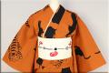 源氏物語 綿麻 注染 浴衣(ゆかた) オーダー仕立て付き 猫 柿色 ◆男女兼用◆