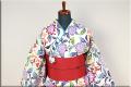 源氏物語 浴衣(ゆかた) オーダー仕立て付き 紅型調 葉 花 ◆女性にオススメ◆