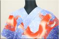三勝 注染浴衣(ゆかた) 浴衣(ゆかた) オーダー仕立て付き 金魚 鯉 青系 ◆男女兼用◆