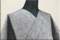 浴衣(ゆかた) 綿麻 オーダー仕立て付き 縦絣 グレー ◆男女兼用◆