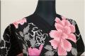 JUNKO KOSHINO浴衣(ゆかた) 綿 オーダー仕立て付き 牡丹 黒 雅55 ◆女性にオススメ◆