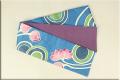 ち江す 半幅帯 ロウケツ染 正絹 菊に菱の地紋 水上の彩 青