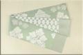 博多織 正絹半幅帯 かがり仕立付 ツタ葉 絹100% ライトグリーン