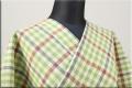片貝木綿 紺仁工房 木綿着物 オーダーお仕立て付き 普段着きもの チェック 緑x赤x青 ◆男女兼用◆