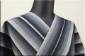 片貝木綿 紺仁工房 木綿着物 オーダーお仕立て付き 普段着きもの ストライプ 黒xグレー ◆男女兼用◆