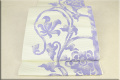 博多帯 正絹 八寸名古屋帯 全通 お仕立付き 草花模様 ベージュx紫
