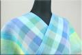 夏着物 小千谷ちぢみ 楊柳 オーダー仕立て付き 杉山織物 チェック 青系 ◆男女兼用◆