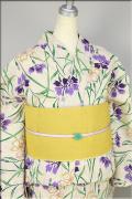 源氏物語 綿麻 浴衣(ゆかた) オーダー仕立て付き 撫子 紫x緑 ◆女性にオススメ◆