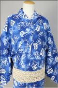 源氏物語 浴衣(ゆかた) オーダー仕立て付き 将棋 青 圭77