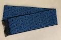 近賢織物 シャンヴル 半幅帯 刺し子 麻帯 黒×青
