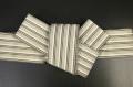西村織物 麻絹 博多織 角帯 かがり仕立付 帯 ベージュ×白×茶 リバーシブル