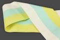 西村織物 麻絹 博多織 半幅帯 紗 かがり仕立付 帯 黄×水色×白